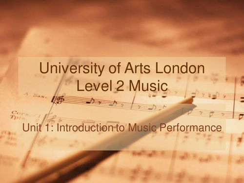 UAL Level 2 Music – Introduction to Music Performance