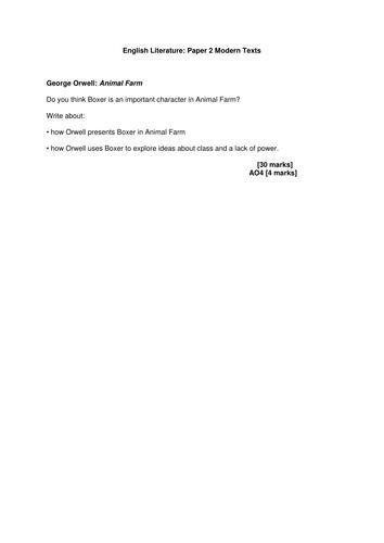 AQA English Literature 2015 Animal Farm Practice Exam Materials