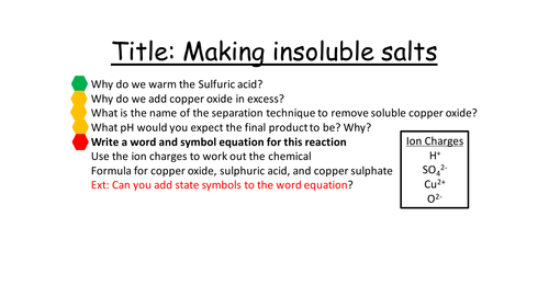 Making insoluble salts from soluble reagents
