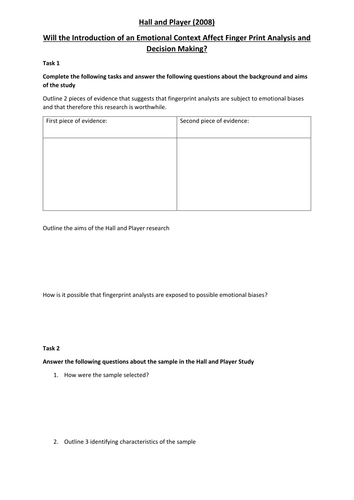 Hall and Player (2008) Activity Worksheet