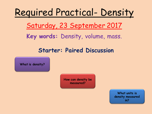 Density Required Practical