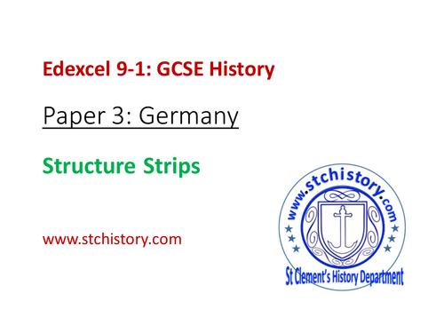 Edexcel 9-1 History: Paper 3 exam STRUCTURE STRIPS (EDITABLE)