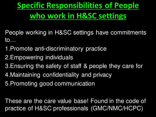 Anti-Discrimination (Specific Responsibilities) Unit 2 Working in Health and Social Care (Level 3)