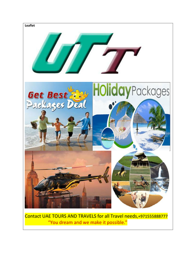 Leaflet for the tour and travel company
