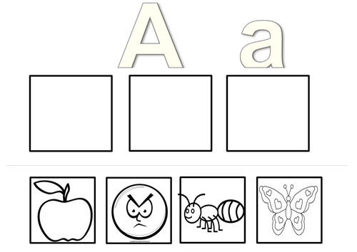 EYFS initial sounds worksheet cut and stick 3 pictures satpin