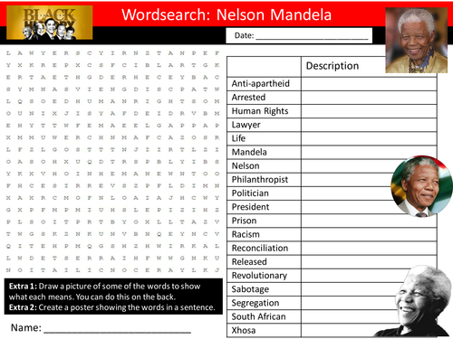Nelson Mandela Wordsearch Keyword Starter Settler Activity Cover Lesson Black History Month