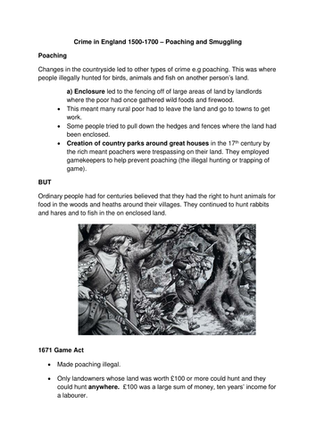 Crime and Punishment - Edexcel 9-1- History GCSE - Poaching and Smuggling - Lesson 9