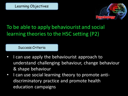 Applying Behaviourist and Social Learning Theory to Health and Social Care (Unit 11 BTEC Level 3)