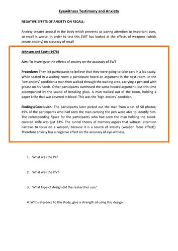 Anxiety and Eyewitness Testimony (Psychology)
