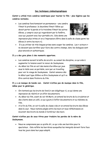 Entre les Murs - handout on techniques used in the film