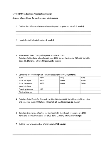 Level 2 BTEC First Certificate/Award in Business - Unit 2 Finance Worksheets and Mock Examinations