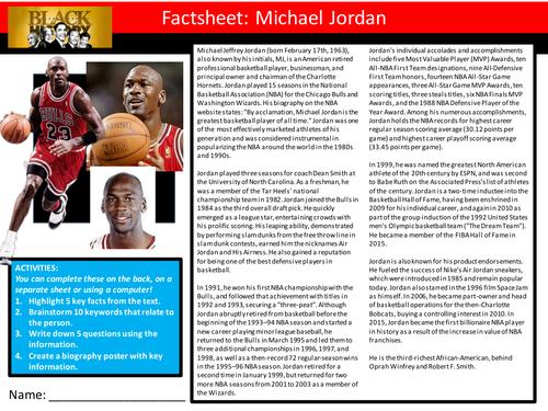 Michael Jordan Factsheet Worksheet Keyword Starter Settler Activity Cover Lesson Black History Month By Mikedean