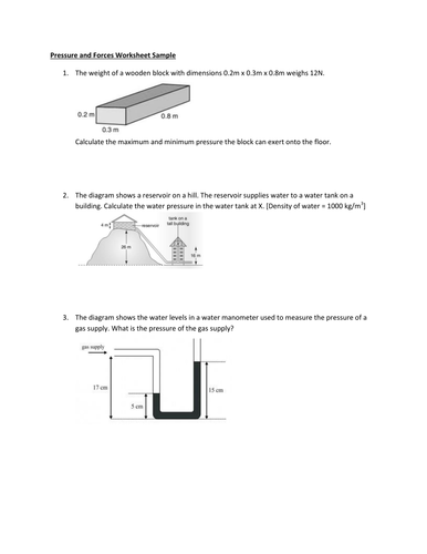 FREE : Pressure and Forces Worksheet Sample