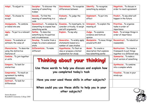Thinking skills word mat