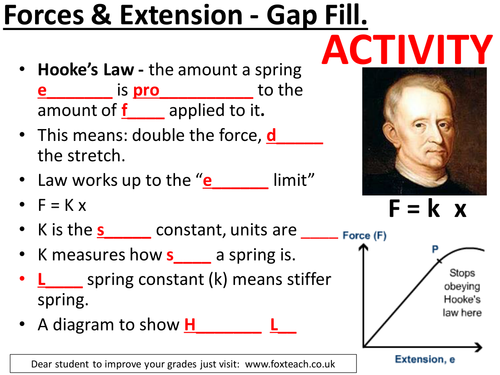 Required practical - force and extension, Hooke's law, experiment, calculations. Complete lesson.