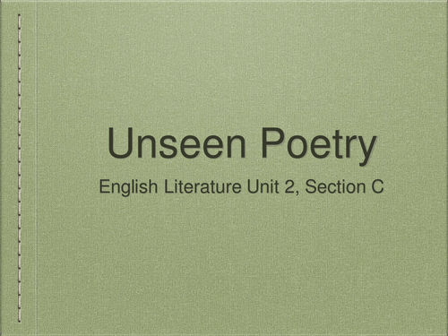 Unseen Poetry: Lesson 3