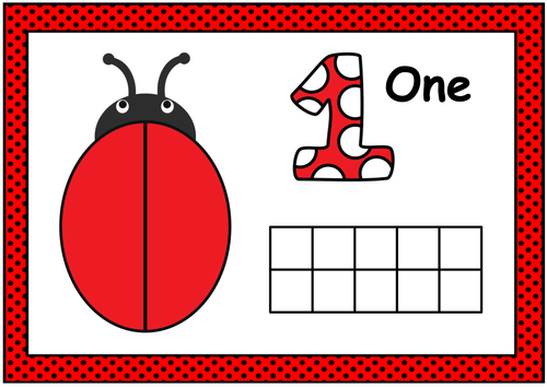 Ladybug Playdough Mat- Numbers (0-20) with Ten Frames