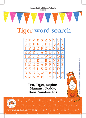 Judith Kerr The Tiger Who Came to Tea Wordsearch