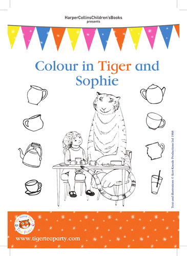 Judith Kerr The Tiger Who Came to Tea Colouring-in Sheet