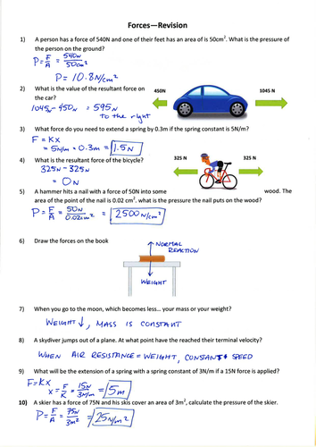 KS3 Forces Revision Questions and Marksheme