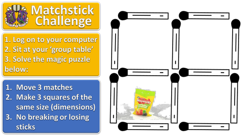 Matchstick Challenge #1 lesson starter for ICT or maths (or any subject!)
