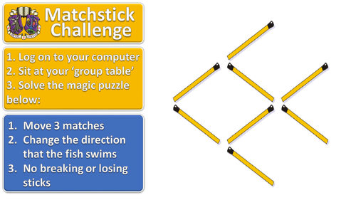 Matchstick Challenge #2 lesson starter for ICT or maths (or any subject!)