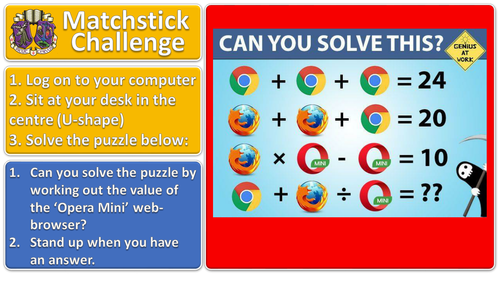 Matchstick Challenge #4 lesson starter for ICT or maths (or any subject!)