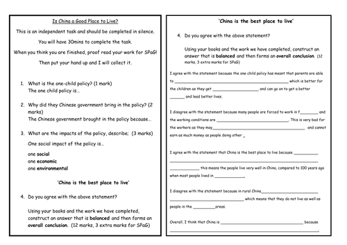 China topic Assessment- Is China a good place to live? Extended writing- Writing frame included!