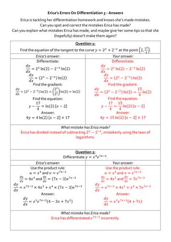 Erica's Errors On Differentiation 3