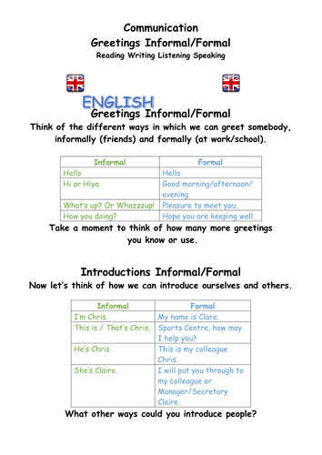Primary english language learning resources greetings greetings formal and informal english as a second language m4hsunfo