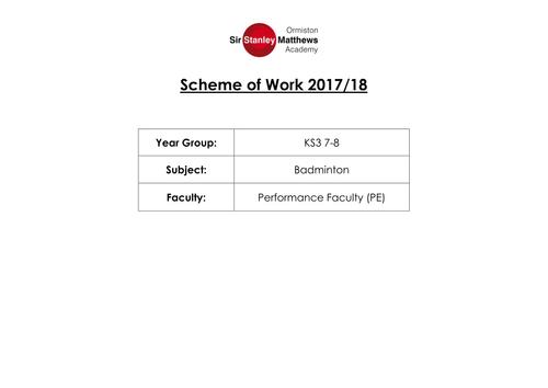 KS3 Badminton Scheme of Work