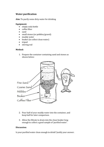 Water purification (filtration) experiment