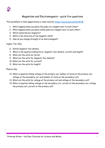 Magnetism and Electromagnets. AQA P2-Topic 7 Quick Fire Questions. 9-1 GCSE physics or combined scie