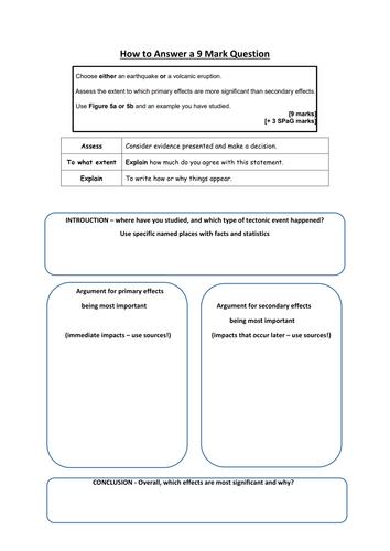 AQA GCSE Geography 9 marker worksheets