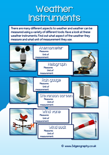 Work Sheet On Weather Instrument By Geopal2000 Teaching Resources