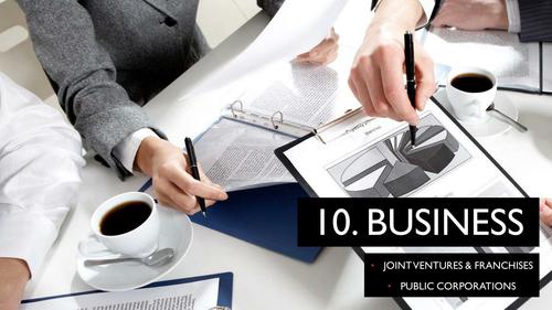 CIE iGCSE Business 0450 Unit 1 Joint Ventures, Franchises, Public Corporations