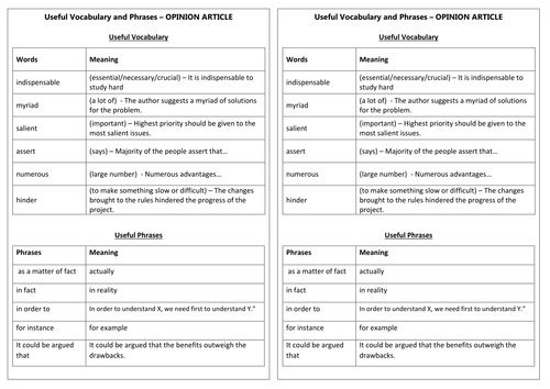 Useful Vocabulary and Phrases for Articles -  English as a Second Language