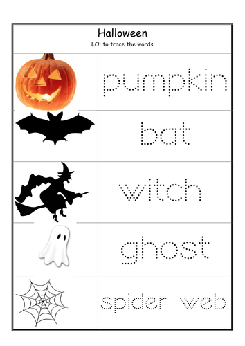 Halloween. Writing and reading worksheets.