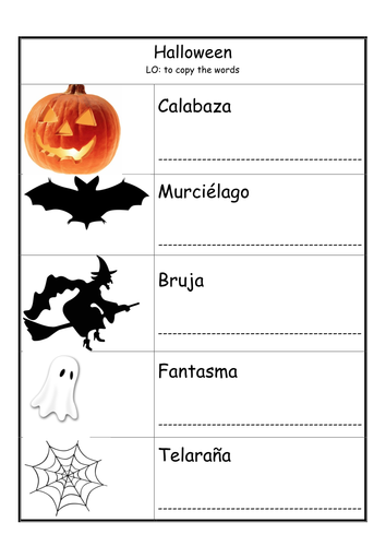 halloween worksheets in spanish by mycar teaching resources tes. Black Bedroom Furniture Sets. Home Design Ideas
