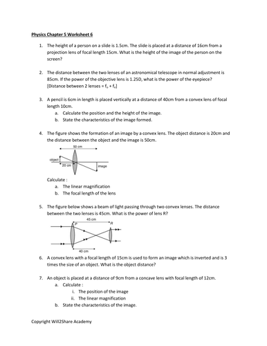 Optical Instrument Worksheets Astronomical Telescope