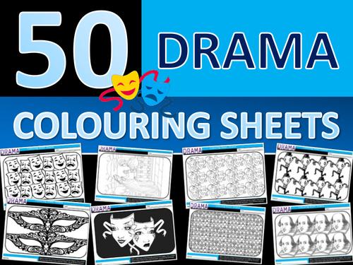 50 x Drama Colouring Sheets Keyword Starter Settler Performing Arts Cover End of Term Fun Activity