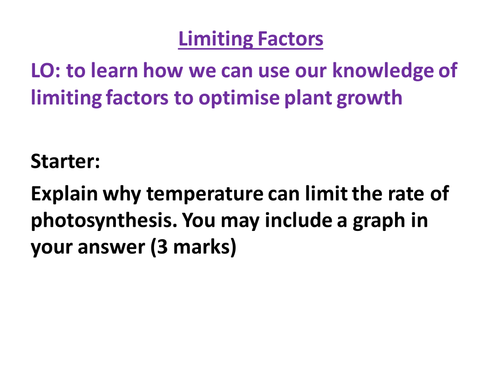 AQA Biology GCSE New Specification - Limiting Factors