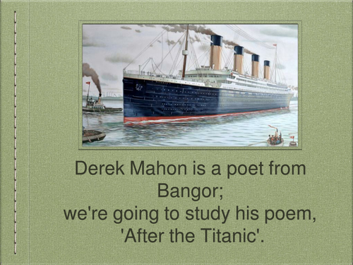 KS3 Poetry: 'After the Titanic'