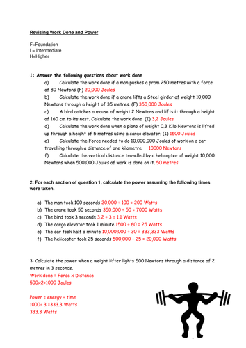 Work and Power Worksheet by bharryb - Teaching Resources - Tes