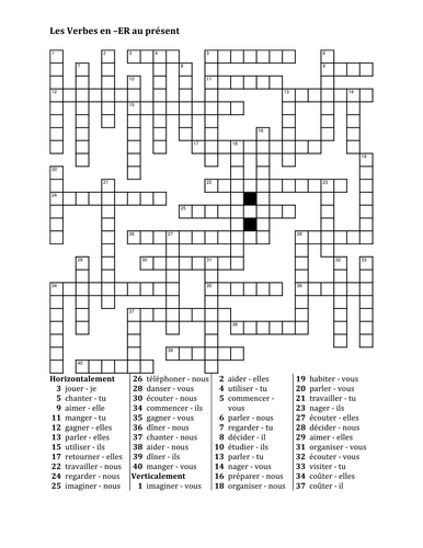 ER Verbs in French Verbes ER Present Tense Crossword