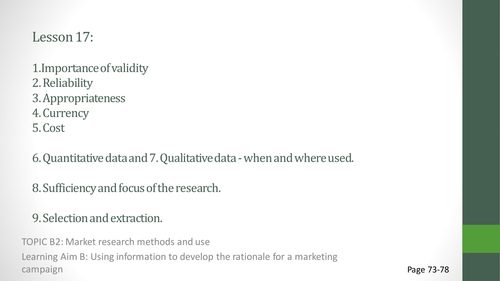 Unit 2 Developing a Marketing Campaign Lesson 17 Validity / Reliability of Data