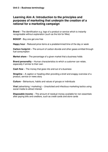 Unit 2 Developing a Marketing Campaign - Business Terminology