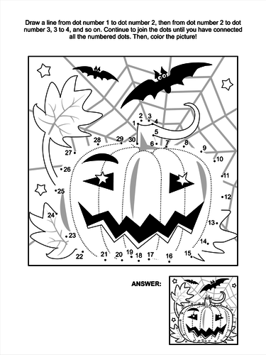 Dot To Dot And Coloring Page Halloween Pumpkin By Ratselmeister