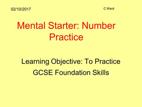 Differentiated Maths Basic Skills Starter