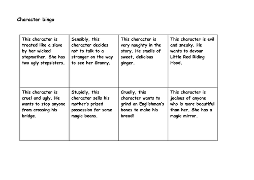 Traditional Tales bingo game